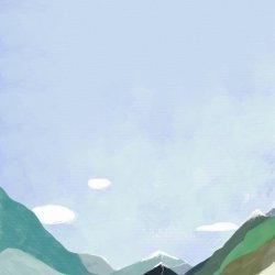 唯美风景意境手绘插画无水印图片
